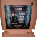 sherlock holmes sticker pizza box advertising