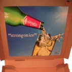 strongbow sticker pizza box advertising