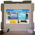microsoft x-box sticker pizza box advertising