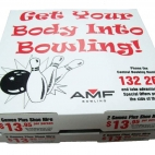 amf bowling pizza box advertising coupons