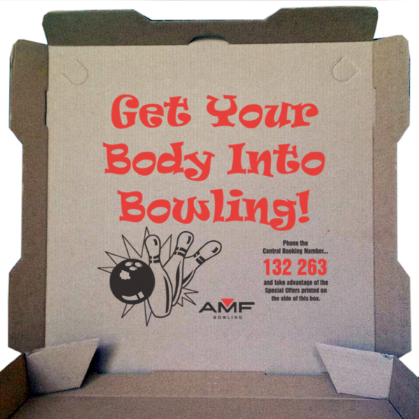 amf bowling inside printing pizza box advertising