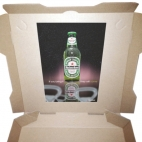 heineken sticker pizza box advertising